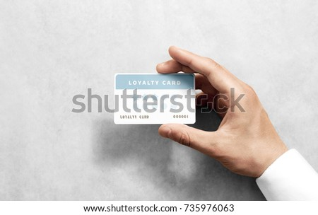 Hand hold discount card template with rounded corners. Plain reward namecard mock up holding arm. Plastic loyalty program mockup with points display. Gift offset card design. Loyal service branding. #735976063