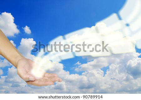 hand hold flying transparent button