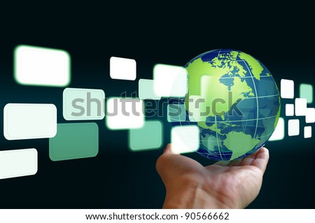 hand hold flying transparent button through earth globe