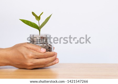 Hand hold glass jar with money coins and plant growth on white background. Money stack for business planning investment. Investment and saving concept