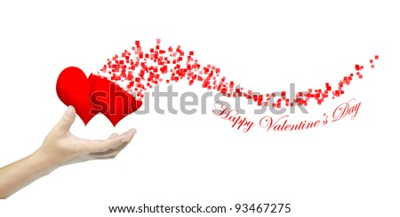 Hand hold heart as Valentine's day card