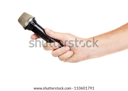 hand hold microphone for  interview, isolated - stock photo