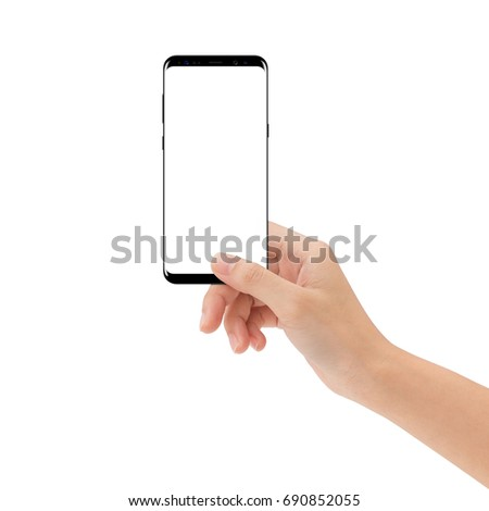 hand hold new smart phone isolated on white background #690852055