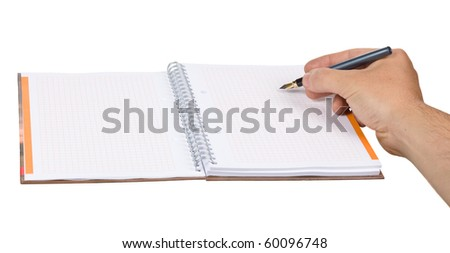 Hand hold pen with notepad. copy space isoalted on white
