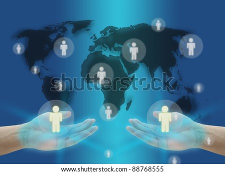 hand hold person World Social Network Communication Concept with world map