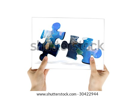 Hand hold photo of global map puzzles communication on white background