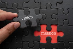 Hand hold piece of puzzle written VISION revealing word MISSION. Business concept.