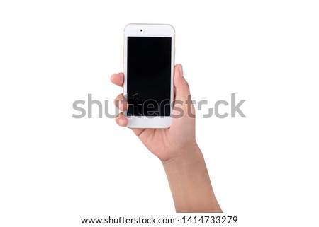 hand hold smartphone isolate on white background