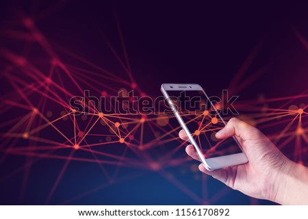 hand hold smartphone with connection of digital data global social network, ai system with human on devices, software link to internet, use touch on screen, information technology for people new life