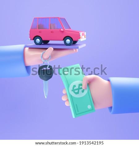 Hand hold tiny car, keys and money. Automobile dealer, buy or rent car. Modern 3d illustration