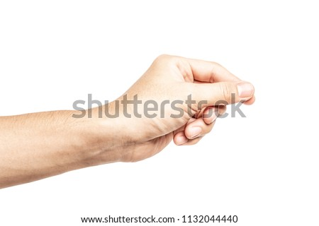 Hand hold virtual business card, credit card or blank paper isolated on white background with clipping path.