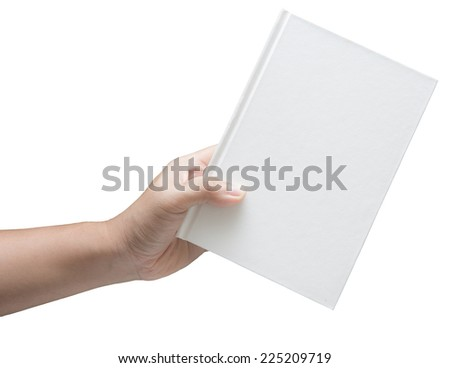 hand hold white blank book