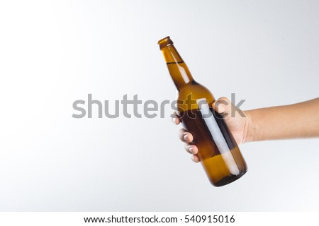 hand holding a beer bottle...