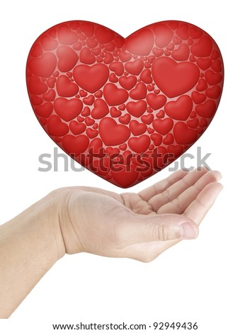 Hand holding a big heart