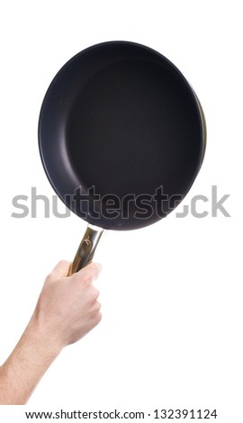 Hand holding a black frying pan isolated on white background