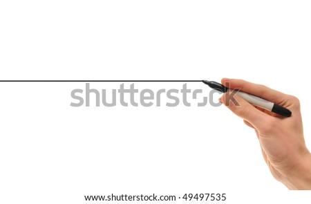 Hand holding a black marker drawing a perfectly straight black line on white background