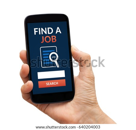 Hand holding a black smart phone with find a job concept on screen. Isolated on white background. All screen content is designed by me.