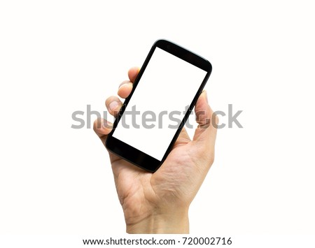 hand holding a black  smart phone with white background #720002716