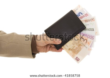 Hand holding a black wallet with many euro banknotes