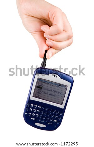 Hand holding a Blackberry cell phone. Isolated on white. - stock photo