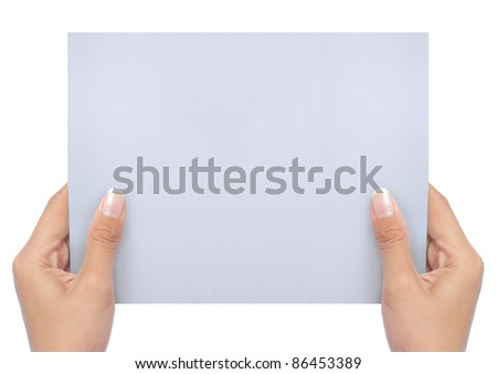 hand holding a blank white paper isolated on white. ready for your ad