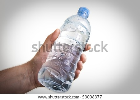 hand holding a bottle full of water