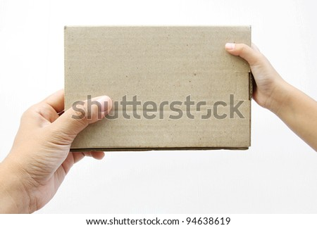 Hand holding a box on white background