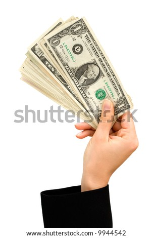 Hand holding a bunch of US dollar notes