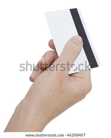 hand holding a card isolated on white - stock photo