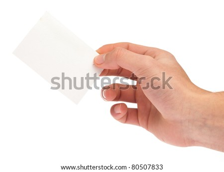 hand holding a card on a white background
