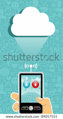 Hand holding a cell phone under one cloud on blue background with social media icons.