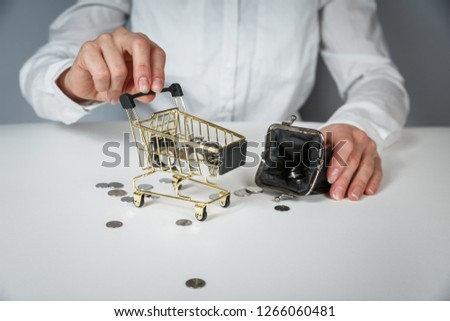 Hand holding a coin with pile of coin in the shopping cart on white and grey background. Symbolic photo for purchasing power and consumption #1266060481