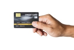 hand holding a credit card isolated on white background.