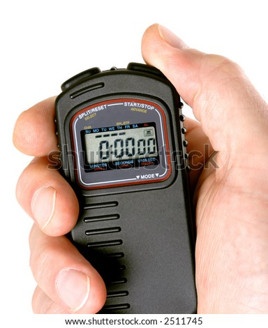 Hand holding a digital stopwatch.