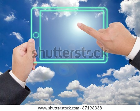 Hand holding a digital tablet p, Technology can create everything