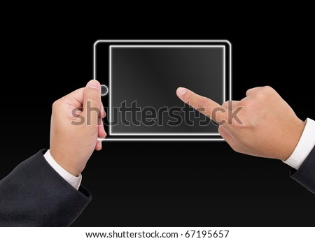 Hand holding a digital tablet pc