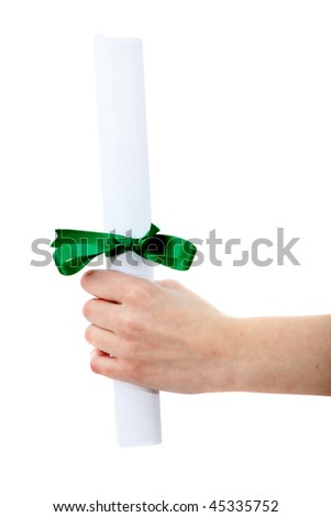 Hand holding a diploma isolated over a white background