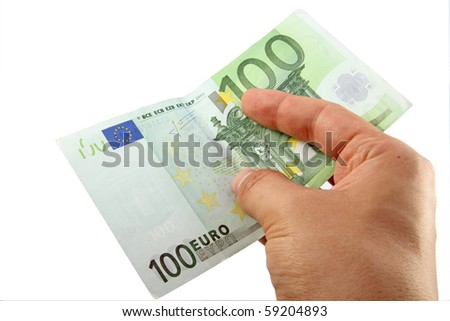 Hand holding a 100 euro bill; with clipping path - stock photo