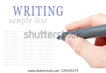 Hand holding a felt tip pen isolated on white background