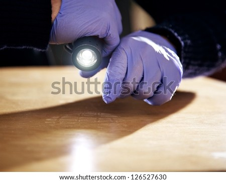 Hand holding a flashlight and searching for evidence