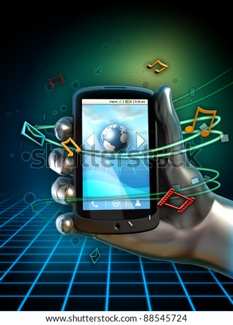 Hand holding a generic smartphone. Different icons float around the phone, indicating services available through the device. Digital illustration.