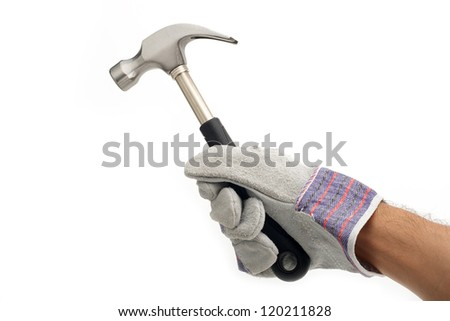 Hand holding a hammer on white background