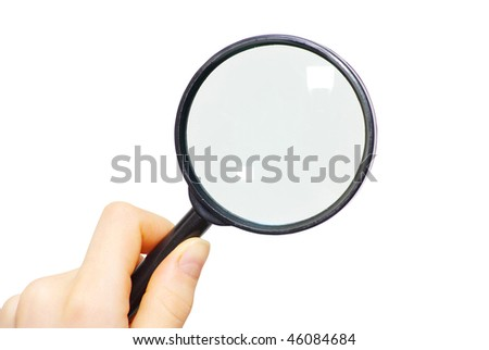 hand holding a magnifying glass on white