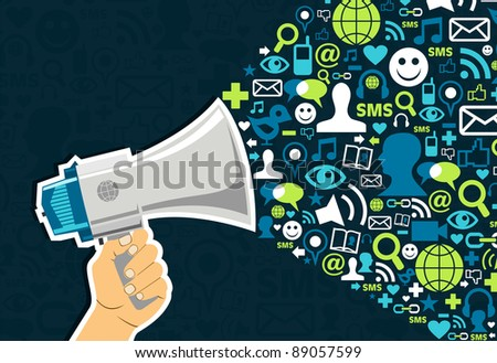 Hand holding a megaphone throwing social media icons on blue background.