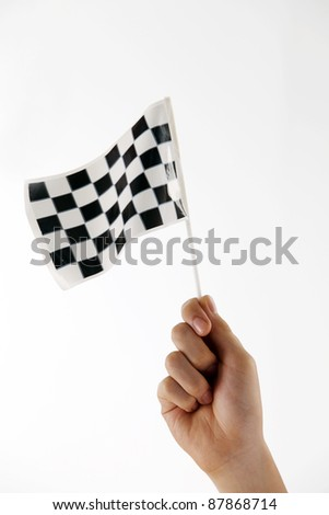 hand holding a mini checker flag