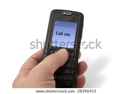 Hand holding a mobile phone receiving a message, call me