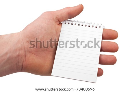hand holding a notepad on isolated white background.