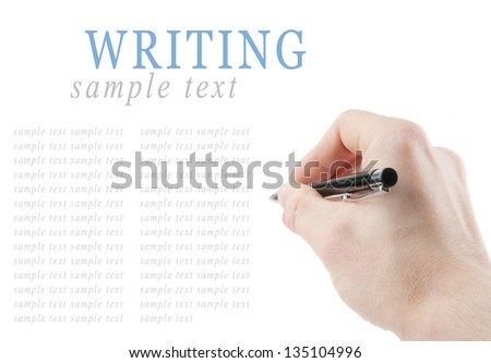 Hand holding a pen isolated on white background