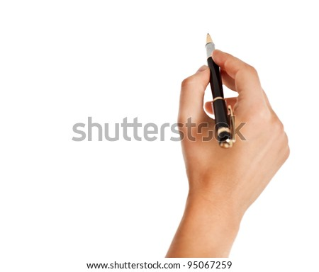 Hand holding a pen isolated over white background