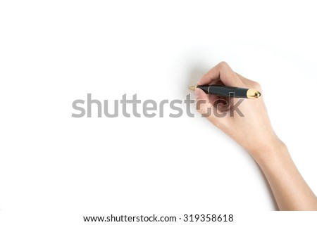 hand holding a pen on white...